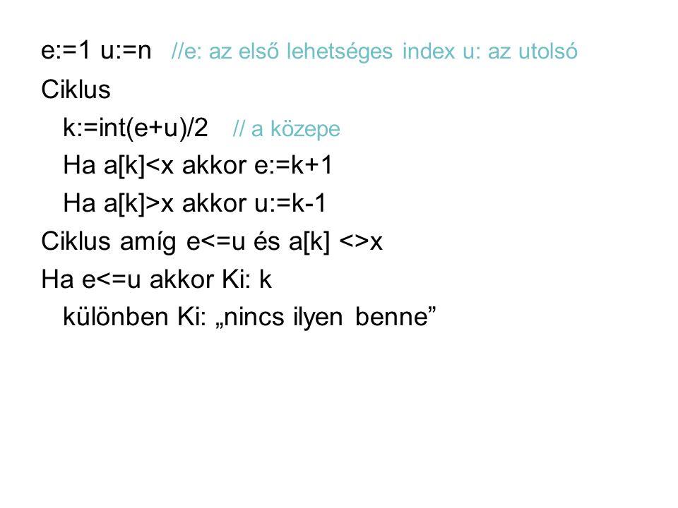"""e:=1 u:=n //e: az első lehetséges index u: az utolsó Ciklus k:=int(e+u)/2 // a közepe Ha a[k]<x akkor e:=k+1 Ha a[k]>x akkor u:=k-1 Ciklus amíg e<=u és a[k] <>x Ha e<=u akkor Ki: k különben Ki: """"nincs ilyen benne"""
